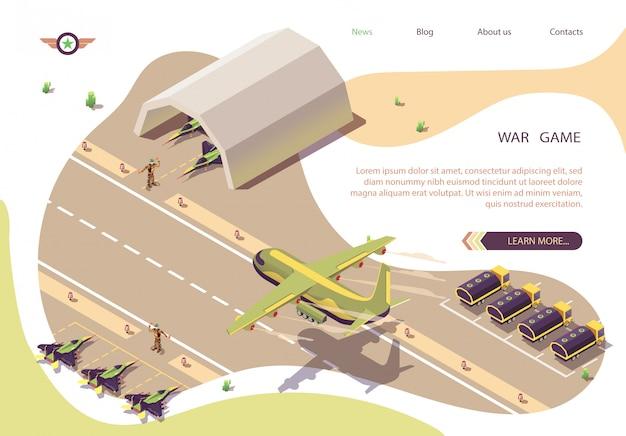Banner isométrico juego de guerra con aeródromo militar