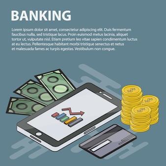 Banner isométrico de línea delgada de banca para sitios web. concepto de negocio de marketing, economía, finanzas y comercio electrónico. conjunto de elementos y objetos bancarios isométricos.