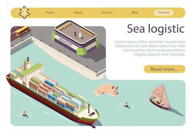Banner isométrico de logística y transporte marítimo.