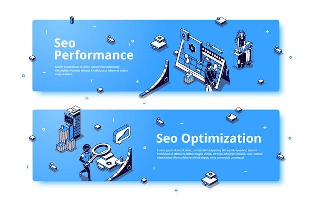 Banner isométrico de optimización y rendimiento seo.