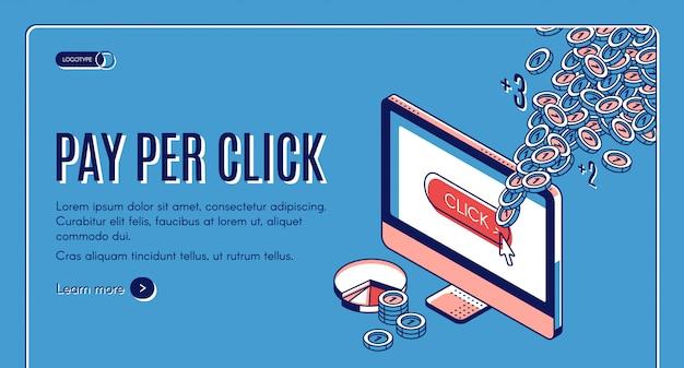 Banner isométrico de pago por clic