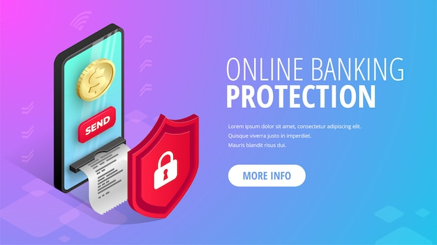 Banner isométrico de protección de banca en línea