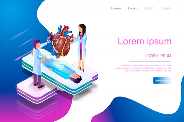 Banner isométrico de realidad aumentada en medicina 3d