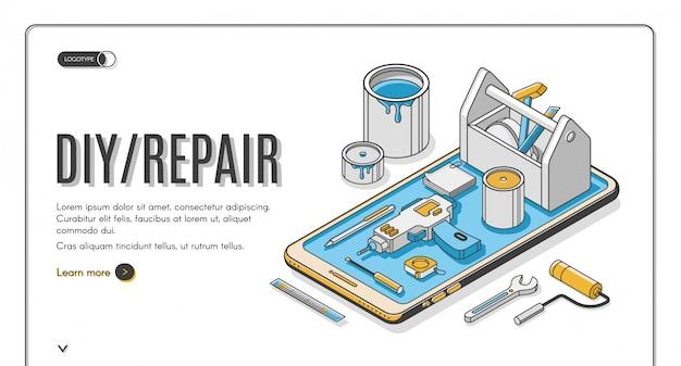 Banner isométrico de reparación de bricolaje