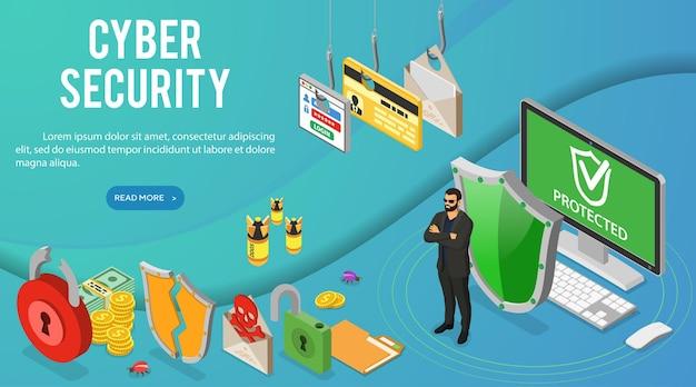Banner isométrico de seguridad cibernética. piratería y phishing. guard protege la computadora de ataques de piratas informáticos como roba contraseñas, tarjetas de crédito y correo electrónico.