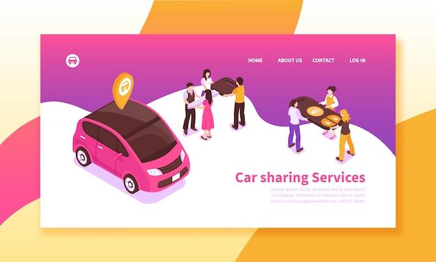 Banner isométrico de servicio de coche compartido