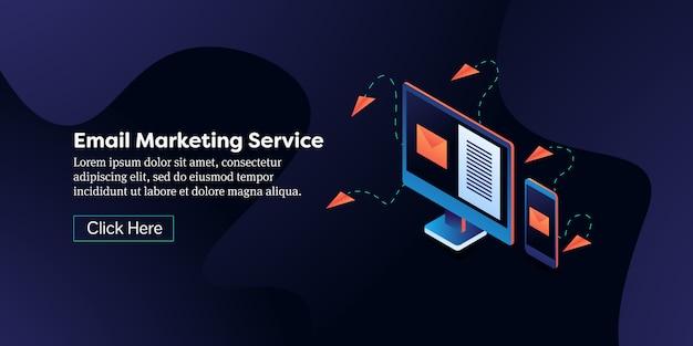 Banner isométrico del servicio de marketing por correo electrónico