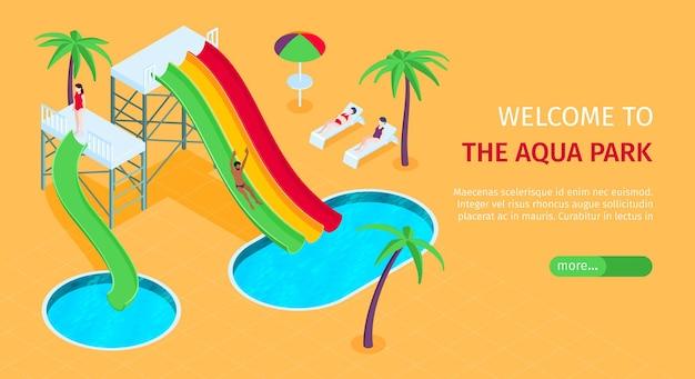 Banner isométrico del sitio web de aquapark con toboganes de agua, piscinas y palmeras