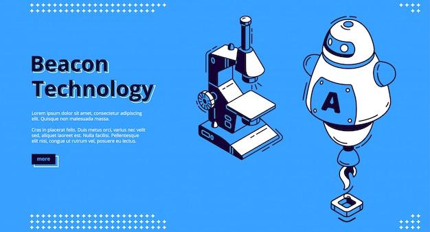 Banner isométrico de tecnología beacon con robot