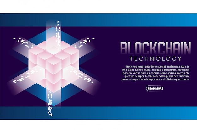 Banner isométrico de tecnología blockchain