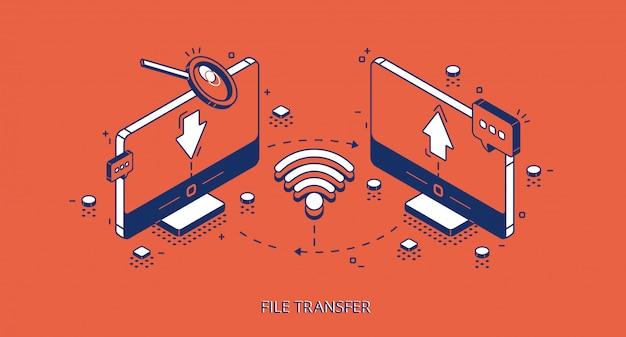 Banner isométrico de transferencia de archivos, conexión remota
