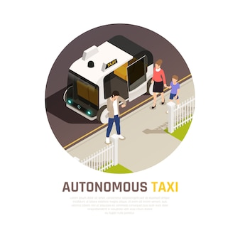 Banner isométrico de transporte robótico de vehículo autónomo sin conductor con ilustración de vector de descripción de taxi autónomo