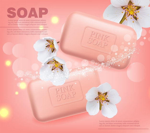 Banner de jabón de flor de cerezo