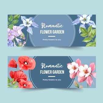 Banner de jardín de flores con gloria de la mañana, ilustración acuarela de amapola.