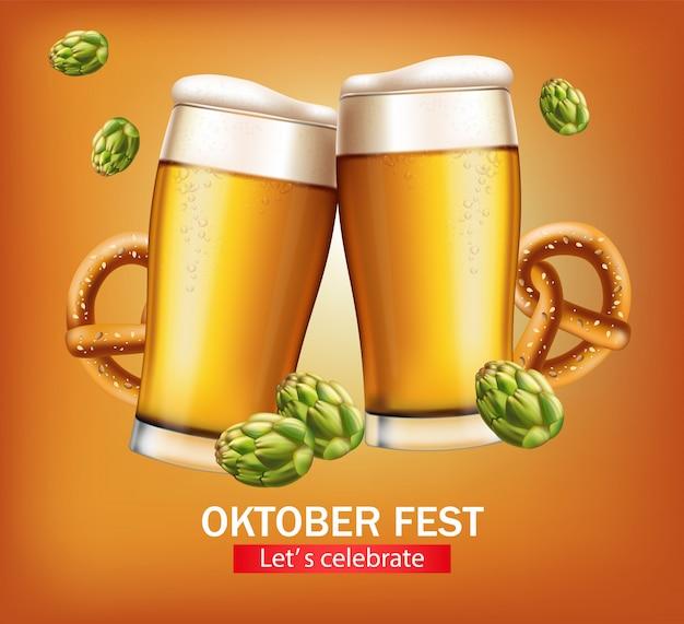 Banner de jarras de cerveza octubre fest