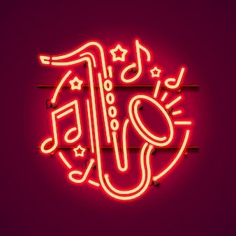 Banner de jazz de música de etiqueta de neón.