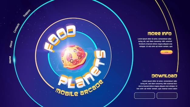 Banner de juego de arcade móvil de planetas de comida