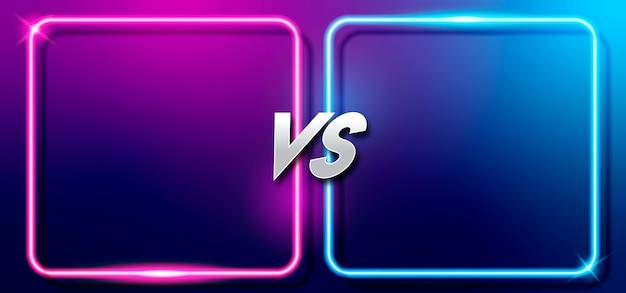 Banner de juego de batalla versus con marcos vacíos de neón