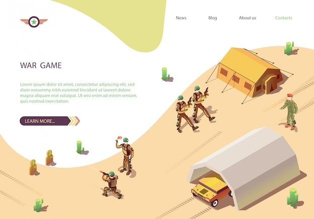 Banner de juego de guerra con el campamento de entrenamiento militar.