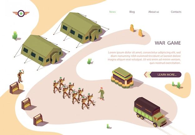 Banner de juego de guerra con campo base militar en postre
