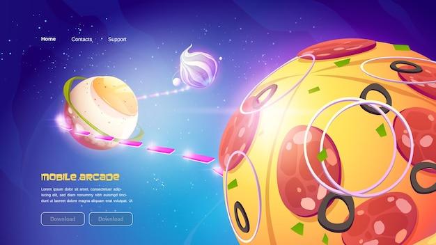 Banner de juego móvil divertido con planetas de comida en el espacio ultraterrestre