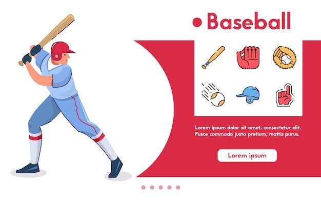 Banner de jugador de béisbol de hombre, bateador con bate se encuentra en pose listo para golpear la pelota. conjunto de iconos lineales de color: guante, pelota, casco, símbolos del juego, porristas, competición deportiva y aficionados