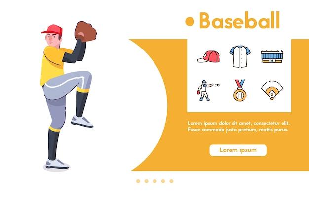 Banner de jugador de béisbol de hombre, lanzador con guante se encuentra en pose listo para lanzar la bola. conjunto de iconos lineales de color: gorra, uniforme, estadio, medalla de campeón, símbolos del juego, competición deportiva