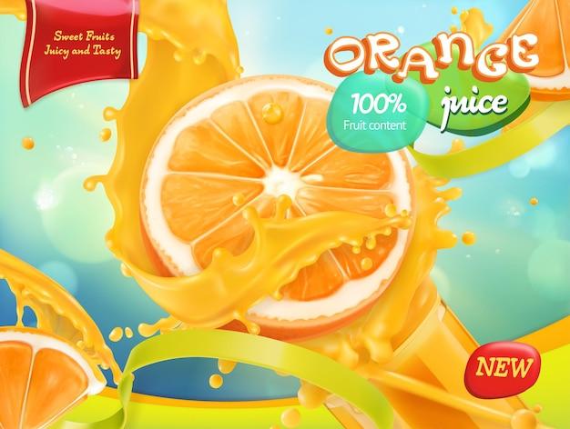 Banner de jugo de naranja