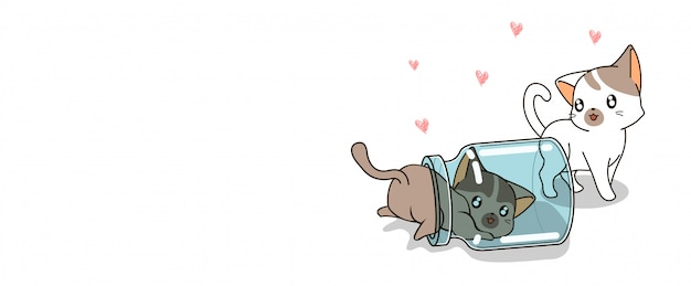Banner kawaii 2 personajes de gato están jugando botella banner