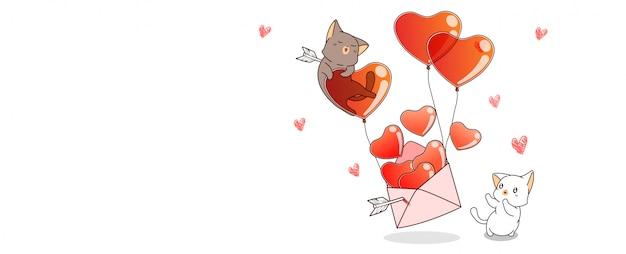 Banner kawaii gatos y corazones dentro de carta de amor