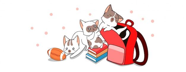 Banner kawaii personajes de gato de regreso a la escuela