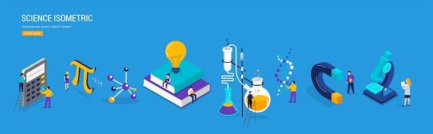Banner de laboratorio de ciencias y clase escolar.