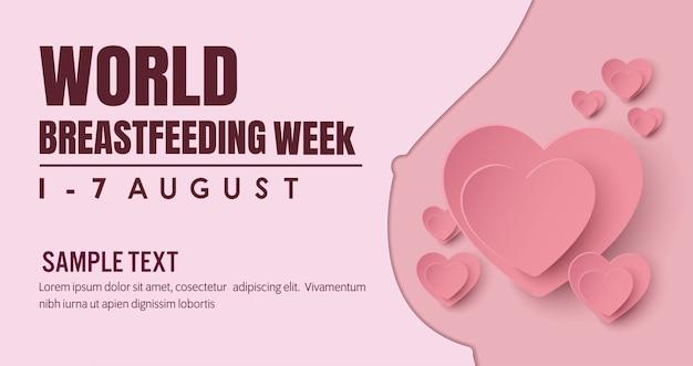Banner de lactancia materna. campaña para la madre que alimenta a un bebé con pecho con la naturaleza