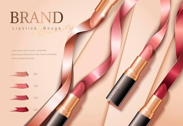 Banner de lápices labiales de moda con cintas en plano, ilustración 3d sobre superficie de papel geométrica