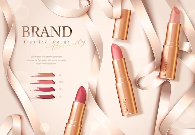 Banner de lápiz labial de paquete de oro rosa con cintas en plano, ilustración 3d