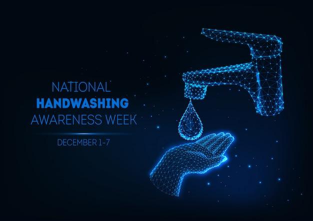 Banner de lavado de manos futurista con mano humana poligonal baja brillante, gota de agua y grifo de baño.