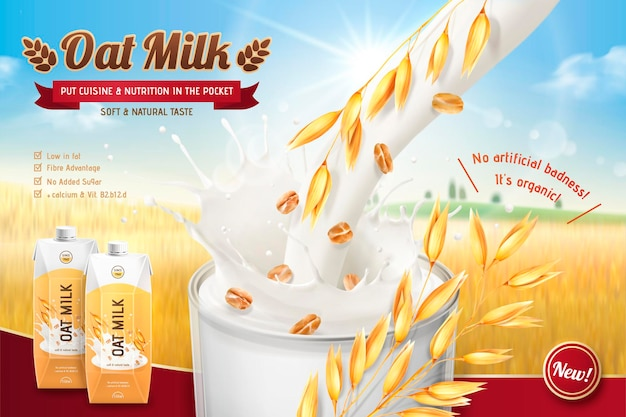Banner de leche de avena con líquido vertido en taza en campo de grano bokeh