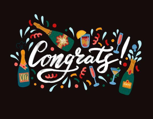 Banner con el lema ¡felicidades! y botellas de champagne.