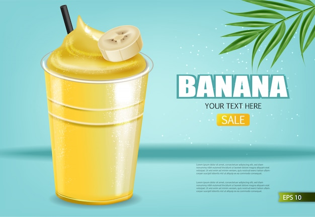 Banner de licuado de plátano