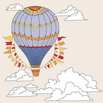 Banner lindo con globos aerostáticos, nubes y lugar para tu texto