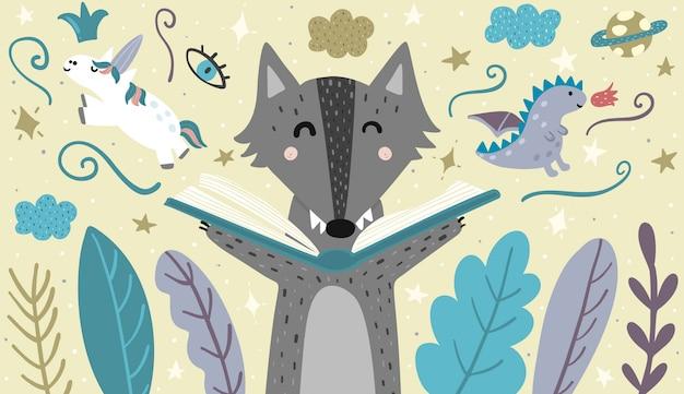Banner con un lindo lobo leyendo un cuento de hadas. ilustración vectorial