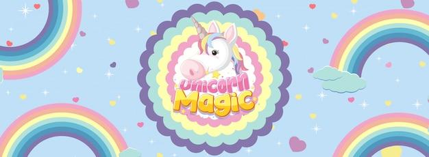 Banner lindo unicornio en color de fondo pastel