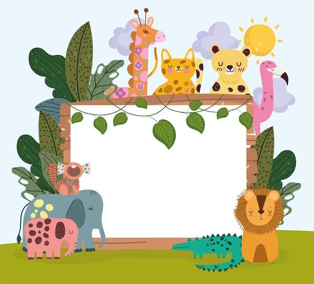 Banner y lindos animales de la selva.