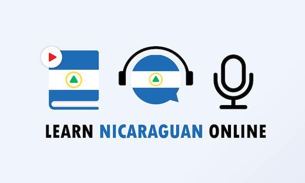 Banner en línea aprende nicaragüense. educación en línea. vector eps 10. aislado en el fondo.