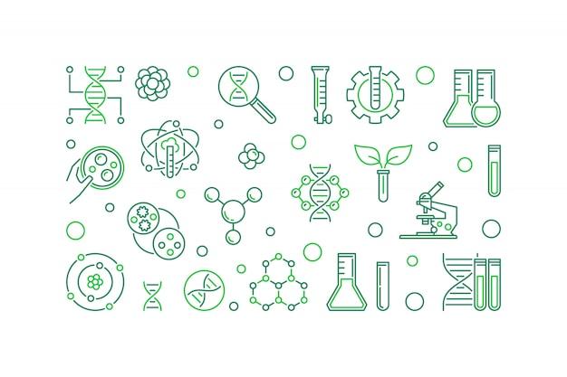 Banner de línea de bioingeniería. ilustración de biotecnología