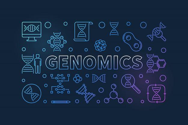 Banner de línea colorida de vector de genómica