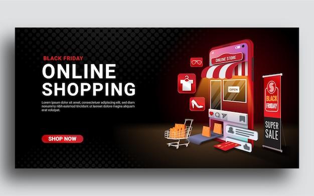 Banner en línea de compras de viernes negro en sitio web o aplicación móvil
