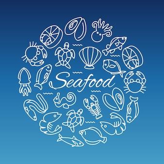 Banner de línea de mariscos con ostra de camarón y pescado.