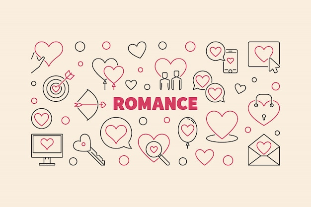 Banner de línea romance hecho con iconos de corazón y amor