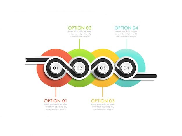 Banner de línea de tiempo de círculo empresarial. sinuosa línea de tiempo. elemento web